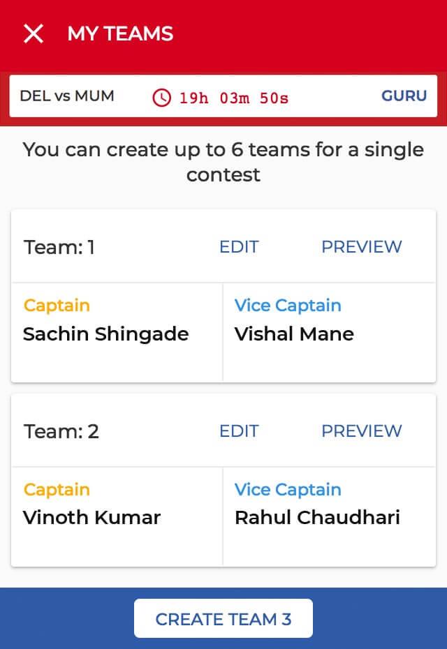 Create Team Step 4